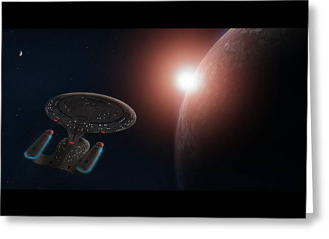 Enterprise D Greeting Cards - Star Trek Greeting Card by Ian Merton