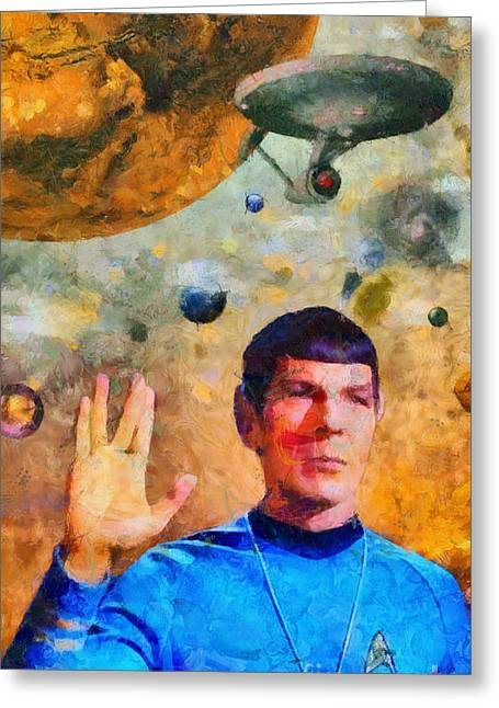 Enterprise Paintings Greeting Cards - Star Trek-Leonard Nimoy Greeting Card by Elizabeth Coats