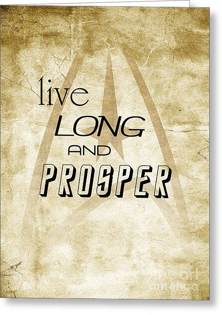 Enterprise Digital Art Greeting Cards - Star Trek Live Long And Prosper Greeting Card by Pete Baldwin