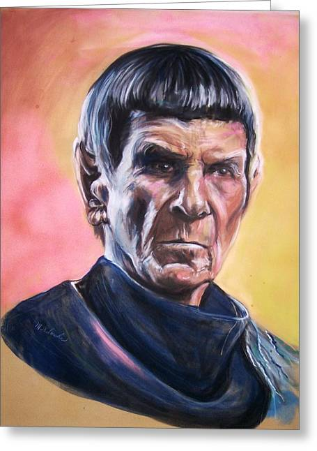 Leonard Nimoy Pastels Greeting Cards - Star Trek Old Spock  Greeting Card by Martha Suhocke