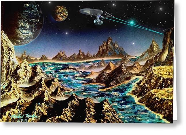 Star Trek - Orbiting Planet Greeting Card by Michael Rucker