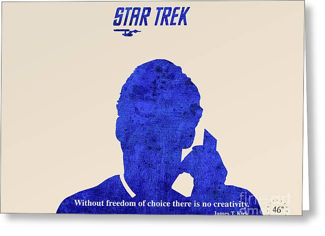 Enterprise Drawings Greeting Cards - Star Trek Original - Kirk Quote Greeting Card by Pablo Franchi