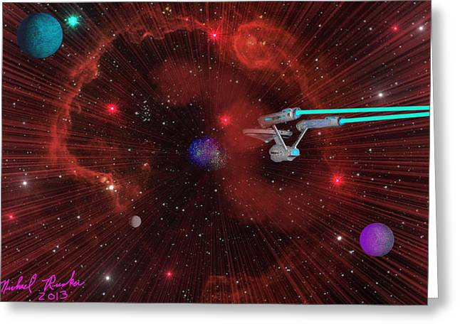 Star Trek - Punch It  Greeting Card by Michael Rucker
