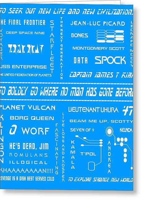 Trekkie Greeting Cards - Star Trek Remembered in Blue Greeting Card by Nomad Art And  Design