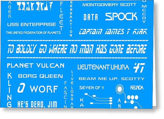 Star Trek Remembered in Blue Greeting Card by Nomad Art And  Design