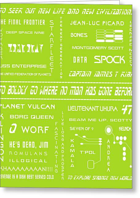 Trekkie Greeting Cards - Star Trek Remembered in Green Greeting Card by Nomad Art And  Design