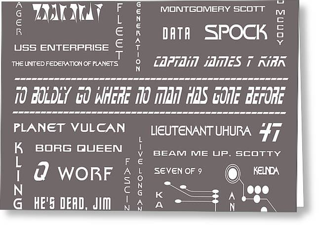 Star Trek Remembered in Grey Greeting Card by Nomad Art And  Design