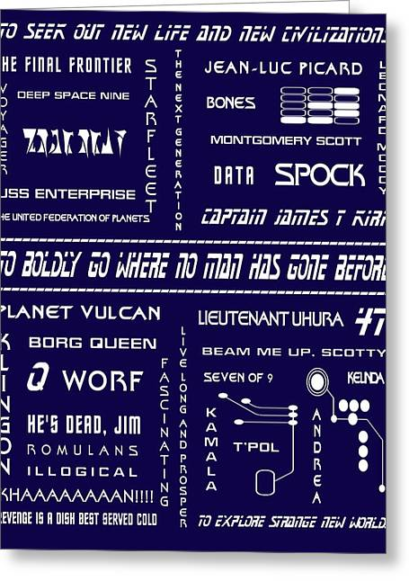 Trekkie Greeting Cards - Star Trek Remembered in Navy Blue Greeting Card by Nomad Art And  Design