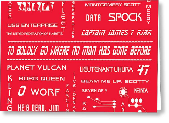 Star Trek Remembered in Red Greeting Card by Nomad Art And  Design