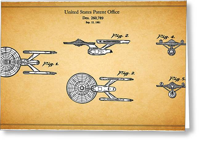 Enterprise Greeting Cards - Star Trek - Spaceship Patent 1981 Greeting Card by Mark Rogan