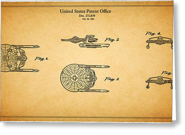 Enterprise Greeting Cards - Star Trek - Spaceship Patent 1984 Greeting Card by Mark Rogan
