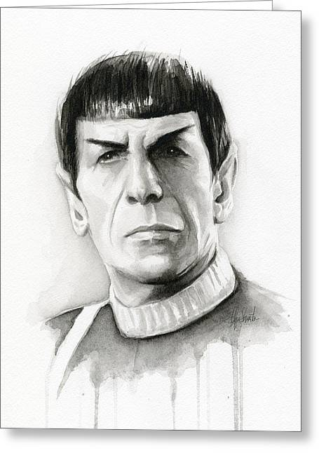 Black And White Drawings Greeting Cards - Star Trek Spock Portrait Greeting Card by Olga Shvartsur