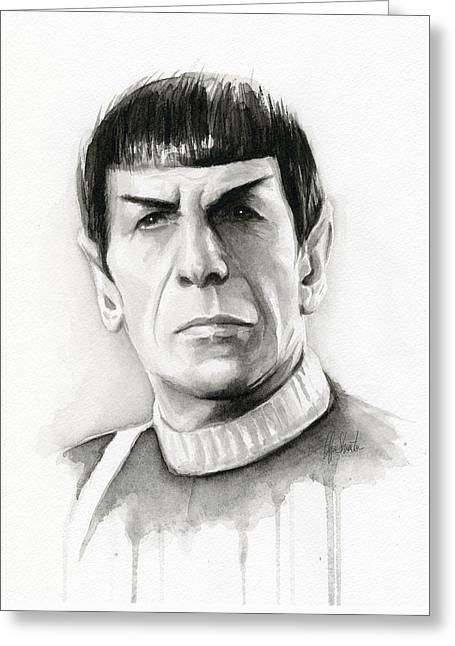 Black And White Drawing Greeting Cards - Star Trek Spock Portrait Greeting Card by Olga Shvartsur