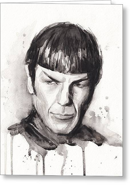 Olechkadesign Greeting Cards - Star Trek Spock Portrait Sci-Fi Art Greeting Card by Olga Shvartsur