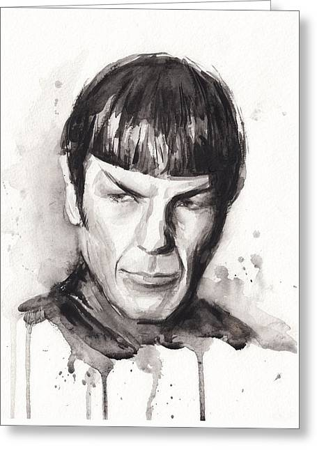 Long-lived Greeting Cards - Star Trek Spock Portrait Sci-Fi Art Greeting Card by Olga Shvartsur