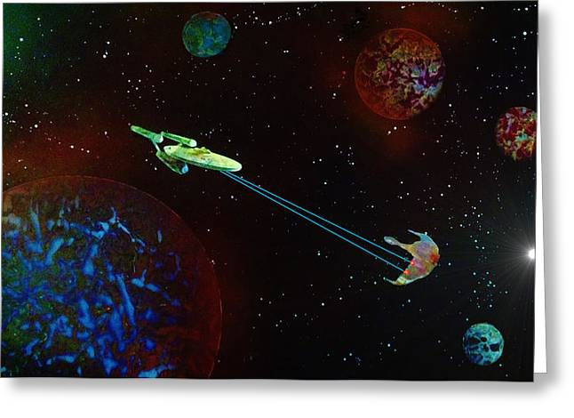 Star Trek -USS Enterprise Greeting Card by Michael Rucker