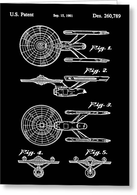 Enterprise Greeting Cards - Star Trek USS Enterprise Toy Patent 1981 - Black Greeting Card by Stephen Younts