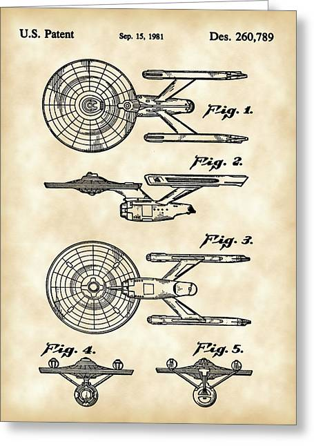 Picard Greeting Cards - Star Trek USS Enterprise Toy Patent 1981 - Vintage Greeting Card by Stephen Younts
