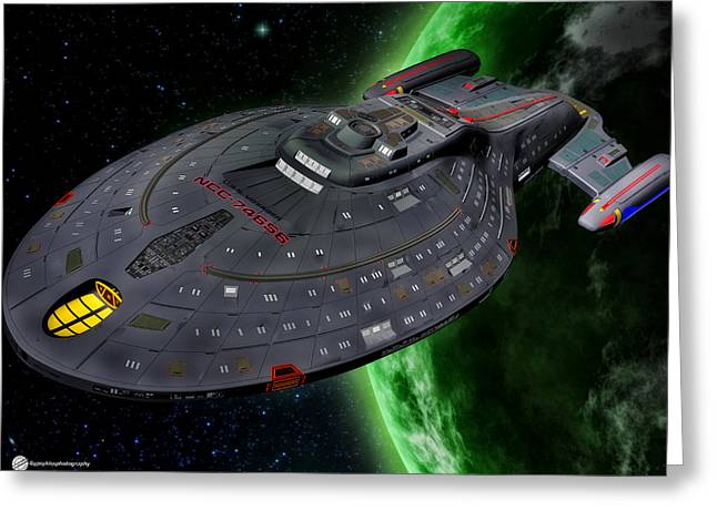 Enterprise Digital Art Greeting Cards - Star Trek Voyager Greeting Card by Todd and candice Dailey