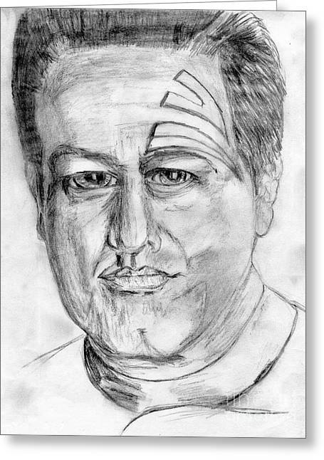 Voyager Drawings Greeting Cards - Star treking Chakotay  Greeting Card by Madeline Moore