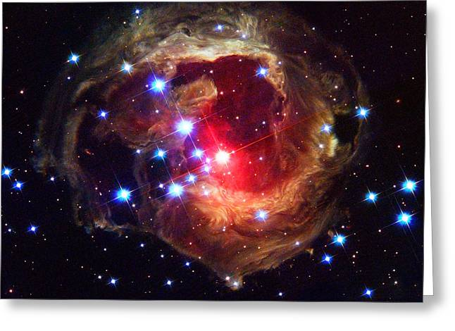 V838 Monocerotis Greeting Cards - Star V838 Monocerotis Hubble Space Photograph Greeting Card by Tigerlynx Art