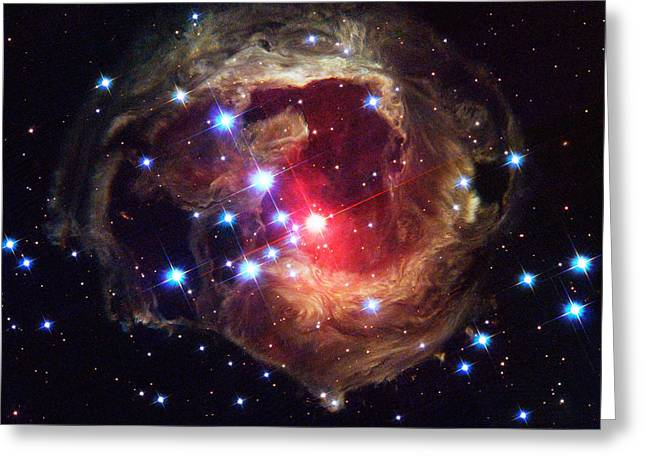 Luminous Body Greeting Cards - Star V838 Monocerotis Greeting Card by Science Source