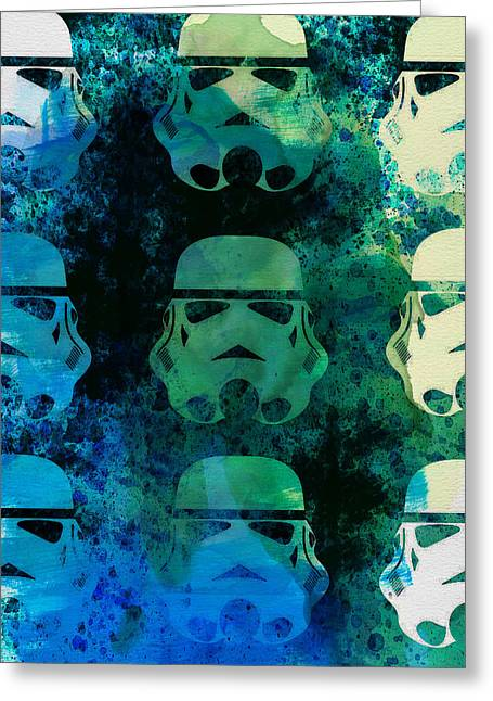 Famous Actor Paintings Greeting Cards - Star Warriors Watercolor 1 Greeting Card by Naxart Studio