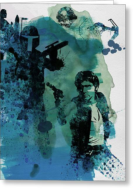 Famous Actor Paintings Greeting Cards - Star Warriors Watercolor 2 Greeting Card by Naxart Studio