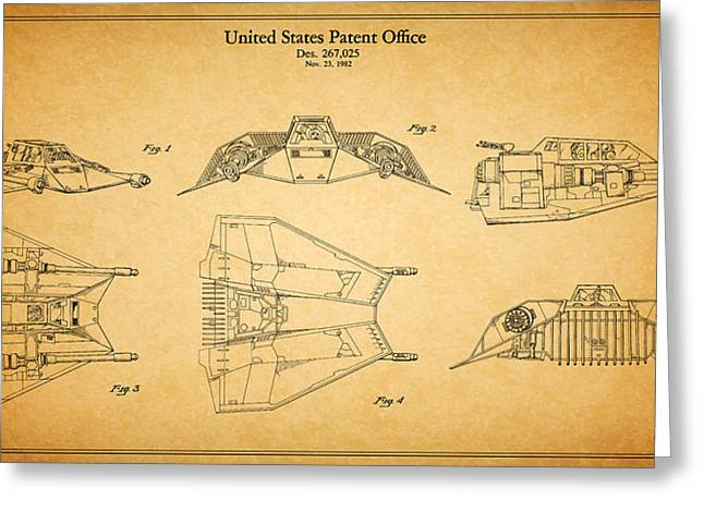 Star Wars Photographs Greeting Cards - Star Wars - Space Craft Patent Greeting Card by Mark Rogan