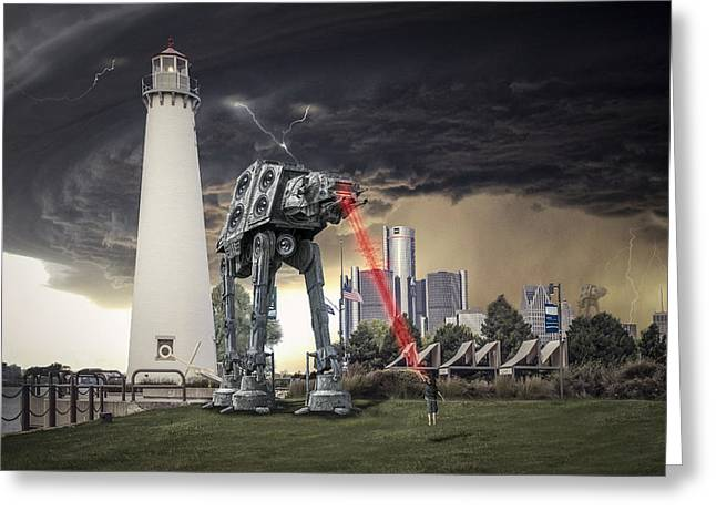 Detroit Pistons Digital Greeting Cards - Star Wars All Terrain Armored Transport Greeting Card by Nicholas  Grunas