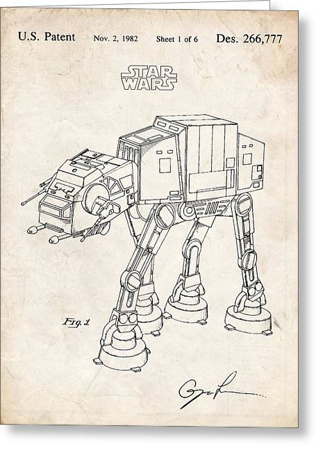 Atat Greeting Cards - Star Wars At-At Imperial Walker Patent Art Greeting Card by Stephen Chambers