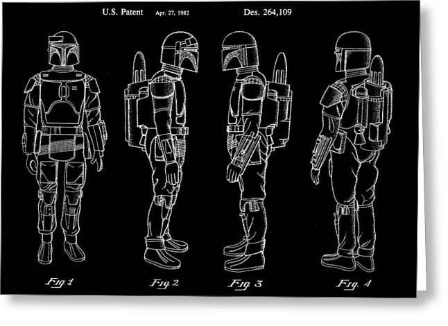Galactic Empire Greeting Cards - Star Wars Boba Fett Patent 1982 - Black Greeting Card by Stephen Younts