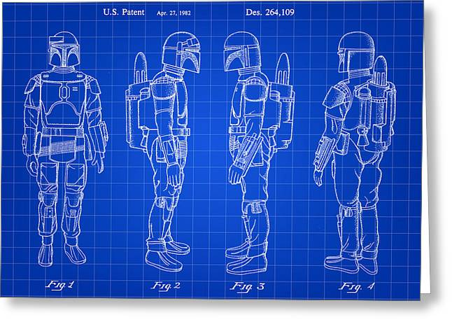 Galactic Empire Greeting Cards - Star Wars Boba Fett Patent 1982 - Blue Greeting Card by Stephen Younts