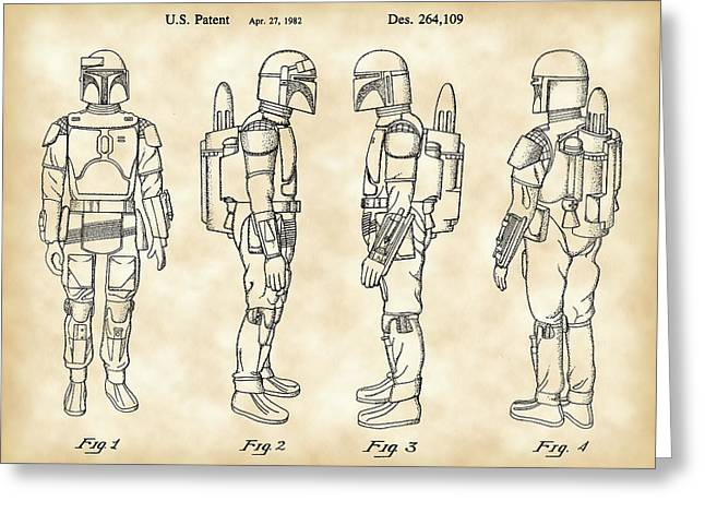 Galactic Empire Greeting Cards - Star Wars Boba Fett Patent 1982 - Parchment Greeting Card by Stephen Younts