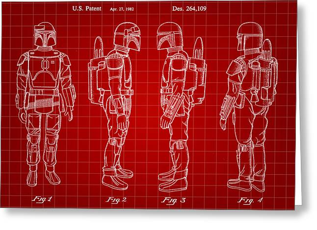 Galactic Empire Greeting Cards - Star Wars Boba Fett Patent 1982 - Red Greeting Card by Stephen Younts