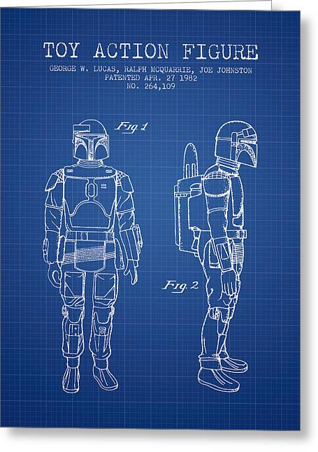 Science Fiction Art Greeting Cards - Star Wars Boba Fett patent from 1982 - Blueprint Greeting Card by Aged Pixel