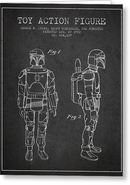 Science Fiction Art Greeting Cards - Star Wars Boba Fett patent from 1982 - Charcoal Greeting Card by Aged Pixel