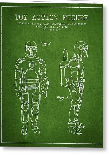 Science Fiction Art Greeting Cards - Star Wars Boba Fett patent from 1982 - Green Greeting Card by Aged Pixel