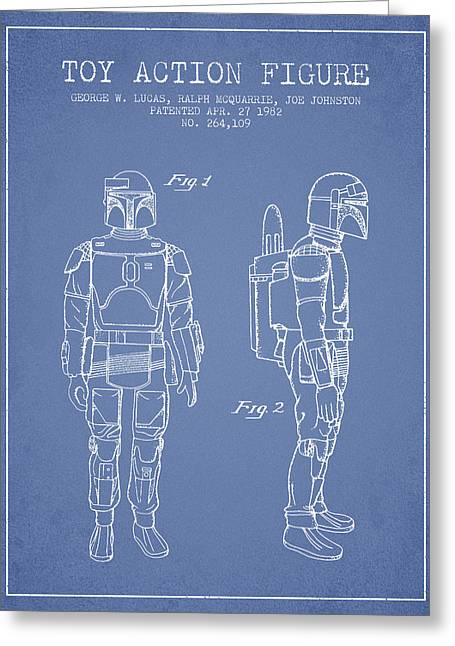 Science Fiction Art Greeting Cards - Star Wars Boba Fett patent from 1982 - Light Blue Greeting Card by Aged Pixel