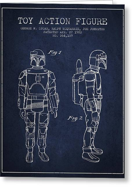 Science Fiction Art Greeting Cards - Star Wars Boba Fett patent from 1982 - Navy Blue Greeting Card by Aged Pixel