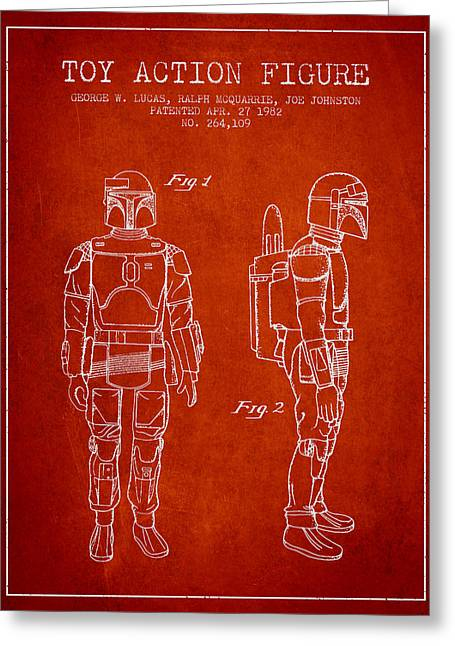 Science Fiction Art Greeting Cards - Star Wars Boba Fett patent from 1982 - Red Greeting Card by Aged Pixel