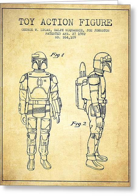 Science Fiction Art Greeting Cards - Star Wars Boba Fett patent from 1982 - Vintage Greeting Card by Aged Pixel