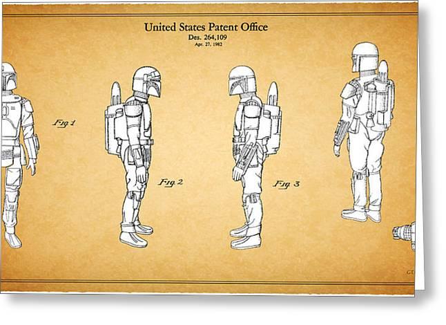 Boba Fett Greeting Cards - Star Wars - Boba Fett Patent Greeting Card by Mark Rogan