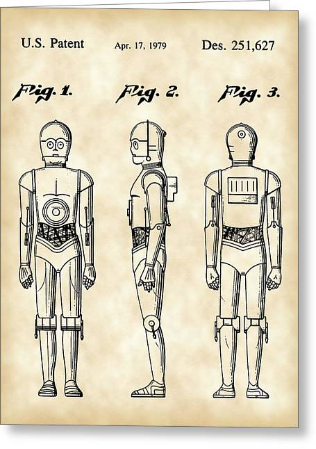 Galactic Empire Greeting Cards - Star Wars C-3PO Patent 1979 - Vintage Greeting Card by Stephen Younts