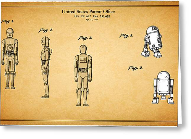 Star Wars Photographs Greeting Cards - Star Wars - C3PO and R2D2 Patent Greeting Card by Mark Rogan