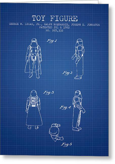 Science Fiction Art Greeting Cards - Star Wars Darth Vader patent from 1982 - Blueprint Greeting Card by Aged Pixel