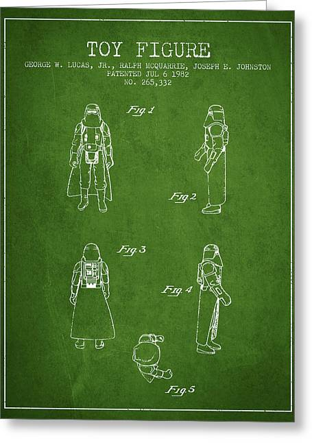 Science Fiction Art Greeting Cards - Star Wars Darth Vader patent from 1982 - Green Greeting Card by Aged Pixel