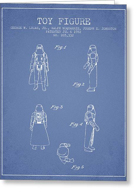 Science Fiction Art Greeting Cards - Star Wars Darth Vader patent from 1982 - Light Blue Greeting Card by Aged Pixel