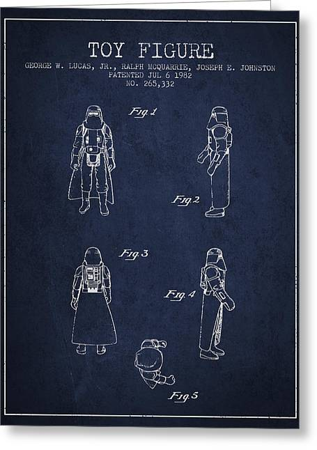 Science Fiction Art Greeting Cards - Star Wars Darth Vader patent from 1982 - Navy Blue Greeting Card by Aged Pixel