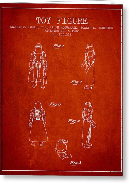 Science Fiction Art Greeting Cards - Star Wars Darth Vader patent from 1982 - Red Greeting Card by Aged Pixel